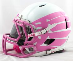 "Oregon's ""think pink"" Football Helmet College Football Helmets, Football Gear, Football Uniforms, Football Clothing, Football Cleats, Pink Football, Football Is Life, Oregon Ducks Football, American Football"