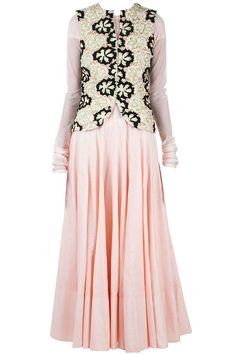 Light pink anarkali with black and white beaded jacket available only at Pernia's Pop-Up Shop.