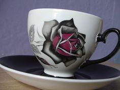 vintage gothic rose tea cup and saucer set, Royal Grafton English bone china tea…