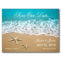 This modern card is ideal to announce a Beach or Destination Wedding. It features a beautiful picture of a beach shore with sand and two starfish. This card is ideal for an ocean front wedding. Add your own event details.