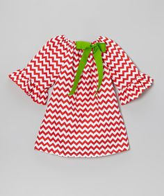 Take a look at this Red & White Ruffle Zigzag A-Line Dress - Toddler & Girls on zulily today!