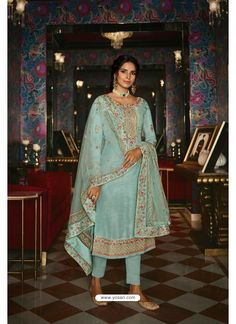 Sky Blue Pure Tussar Silk Partywear Designer Suit Silk Suit, Silk Pants, Straight Cut Dress, Pakistani Suits, Indian Suits, Punjabi Suits, Designer Salwar Suits, Indian Ethnic Wear, Indian Style
