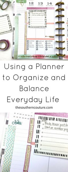 Keep the stress and chaos of all the everyday tasks to a minimal by using a planner to organize and balance everyday life.