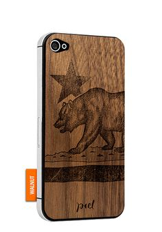 Bear - iPhone 4 - Walnut #Piel #shoppiel #inspiration #smartphone #case #wood #iphone #walnut #california #flag #bear