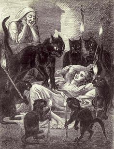 Cats guarding a sick witch