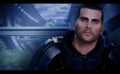 Blue eyed Shepard. I like him with blue eyes but have noticed his eye color changes through the game.