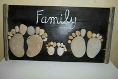 Dark solid wood panel wall appliques in the shape of a foot made with sea pebbles. inscription painted in oils and frame made with DIY Stone Arts and CraftsWe would all surely agree that stones and rocks are few of the most unnoticed mate Pebble Painting, Pebble Art, Stone Painting, Rock Painting, Hobbies And Crafts, Diy And Crafts, Arts And Crafts, Stone Crafts, Rock Crafts
