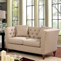 Furniture of America Cerona Contemporary Tuxedo Style Beige Tufted Linen Loveseat