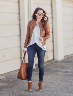 Spring can still be a bit chilly, so we are showing you how to wear leather for spring on Peaches In A Pod blog.