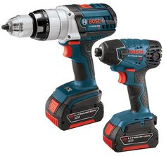 Bosch CLPK221-181 18-Volt Lithium-Ion 2-Tool Combo Kit with 1/2-Inch Brute Tough Drill/Driver, Impact Driver, 2 Batteries, Charger and Case. Kit includes HDH181 drill/driver, 25618 impact driver, 2 Fat Pack HC Batteries BAT619G, charger, and carrying bag. Unibody construction keeps gearing in alignment for the most durable drivetrain on the market. All metal gear train design delivers maximum drilling speed, enhanced torque and longer tool life. Electronic Motor Protection protects the…