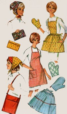 1960s  Misses Aprons and Accessories Simplicity 6206 Vintage sewing pattern One Size by sandritocat on Etsy