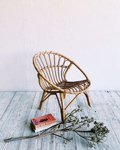 A smaller child's edition of one of our favorites, a vintage bamboo chair. This beauty was handmade from steam bent bamboo pole and peel. Wooden Chair Plans, Chair Design Wooden, Wood Toys Plans, Wooden Chairs, Bamboo Chairs, Bamboo Furniture, Metal Chairs, Office Furniture, Furniture Ideas
