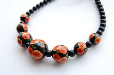 Black Hand painted wooden beads with orange by fineDollyLolly, $50.00