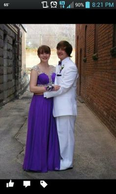Purple dress and white tuxedo, 2014
