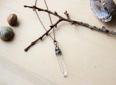 Pendant with quartz. Copper plated pendant.  Elektroforming. Natural quartz. Crystal. Boho. Unique gift. by BYKETUA on Etsy