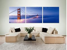 San Francisco is one of the most magical places in the world. This print encapsulates its splendor as the Golden Gate Bridge seems suspended in an endless sky. On sale $200 Available in 3 sizes. Elementem Photography, triptych, home decor, photo prints on wood, SF, San Francisco, bridges, Golden Gate Bridge, sky, California