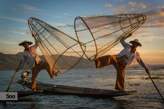 Inle lake leg rowing fisherman by sergemion. Please Like http://fb.me/go4photos and Follow @go4fotos Thank You. :-)