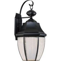 Quoizel Newbury with Seedy Glass (LED) Large Wall Lantern (Large, K - Mystic Black)