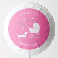 Shop Dachshund Weiner Dog Baby Shower French Pink Girl Balloon created by LittleGigglesBabyCo.