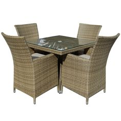 The Tuscany weave on this Maze Rattan 4 Seat Square Dining Set can be left outside all year round. Hand woven around an aluminum frame the Tuscany has a very similar look to that of natural rattan.