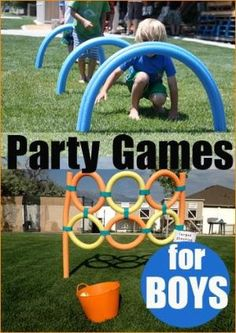 Party Games for Boys.  Awesome DIY party games for boys and girls.  Great for birthday celebrations, family gatherings and just for fun.  Lots of creative inexpensive game ideas. by Marty Frye