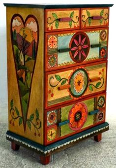 lovely piece of folk-art furniture Art Furniture, Funky Furniture, Repurposed Furniture, Furniture Projects, Furniture Makeover, Furniture Stores, Painting Furniture, Furniture Design, Sticks Furniture