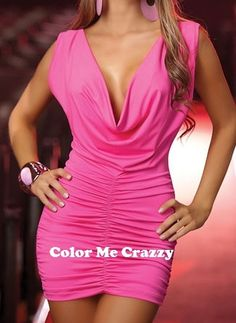 Classy To Sassy Affordable Club Wear, Dance Wear,  And Intimate Apparel $21.50 (http://www.colormecrazzy.com/club-dress-pink-short-mini-short-sleeve-cowl-neck-open-back-rushed-sides/)