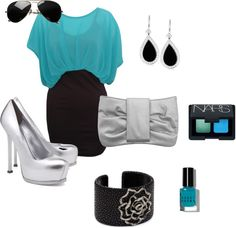 """Teal and Black Club Outfit"" by lovefashion-fitness on Polyvore"