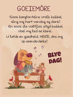 Goeie Nag, Goeie More, Good Morning Wishes, Afrikaans, Winnie The Pooh, Singing, Typography, Wees, Disney Characters