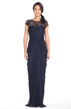 Doesn't look like they have it in green but the lace would complement my dress and blue complements green. Also Kristian's mom is wearing royal blue. Drape Gowns, Draped Dress, Ruched Dress, Lace Dress, Mob Dresses, Girls Dresses, Formal Dresses, White Evening Gowns, Designer Evening Dresses