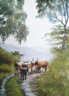 Contemporary South African Artist Erna Wade paints Nguni, wildlife and other African themes in Oils, Acrylic, Mixed Media and Watercolour Watercolor Landscape, Watercolor Paintings, Picture Ornaments, African Theme, South African Artists, Beautiful Drawings, Watercolours, Art Sketches, Landscapes