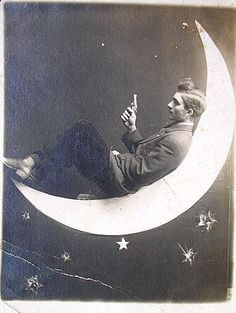 shoot for the moon, paper moon postcard ca. Paper Moon, Vintage Photographs, Vintage Photos, Shoot The Moon, Moon Photos, Sun And Stars, Parcs, Over The Moon, Moon Art