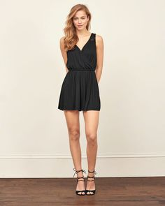 Womens Lace Wrap Front Romper