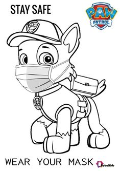 Paw patrol prevent the spread of covid-19 by wearing a mask. Stay safe and stay healthy during pandemic. Bubakids.com free download coloring pages. Collection of cartoon coloring pages for teenage printable that you can download and print. #ColoringPage, #ColoringPagesPawPatrol, #Covid19, #PawPatrol #ColoringPage, #ColoringPagesPawPatrol, #Covid19, #PawPatrol