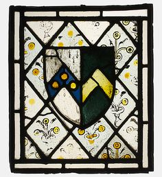 Stained Glass Panel with Heraldic Shield of Johnson 15th century British