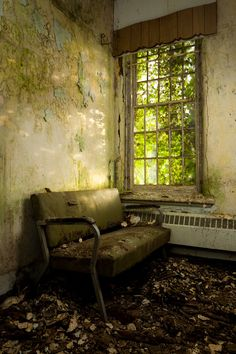 Patient couch by an overgrown window inside the Pines Building at Willard State Hospital, formerly known as the New York State Asylum for the Chronic Insane. Haunted Asylums, Abandoned Asylums, Abandoned Houses, Abandoned Places, Old Houses, Derelict Buildings, Old Buildings, Willard Asylum, Old Mansions