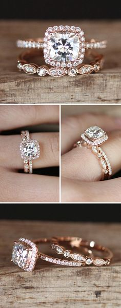 Rose gold engagement wedding ring set Klänning Bröllop f551ac494c105