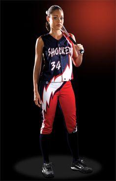 softball+uniforms+girls | Thunder Bolt Women's Sublimated Softball Jersey Teamwork ProSphere