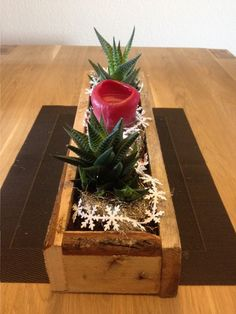 Blumenkasten aus Paletten mit winterliche Dekoration