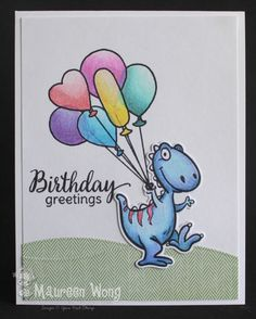 Your Next Stamp - Dino-mite! stamp and die set, Balloons from Jessica with Cupcakes stamp set, Spring/Summer Create a Scene Die Set