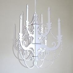 White Cardboard Chandelier  Laser Cut Party Decor by FabParlor, $36.00--sprayed and glittered in gold!