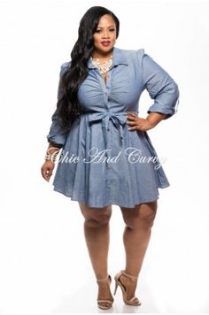 Plus Size Denim Top/ Dress with Tie – Chic And Curvy | Chic And ...