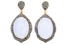 One Kings Lane - One of a Kind - Blue Chalcedony & Diamond Belle Earrings.