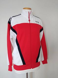 f287a56cad Vintage 1990 s Red White and Blue Adidas Three Stripe Nylon Track Jacket   Adidas Run DMC Trefoil Hip Hop Rap Street Wear