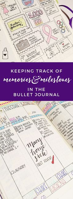 Great ideas for keeping memories in the bullet journal