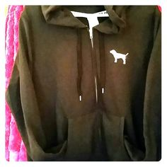 Hooded PINK Sweatshirt Black zip hoodie with silver sequined PINK symbol dog on front and wording on back. It's gorgeous. Worn only once!! PINK Victoria's Secret Tops Sweatshirts & Hoodies