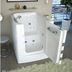 Access Tubs Walk-in Air Hydro Jetted Massage Tub! At this time of my life I would love to have this tub! Walk In Tubs, Walk In Bathtub, Bathtub Drain, Whirlpool Bathtub, Walk In Shower, Shower Tub, Handicap Bathroom, Master Bathroom, Bathroom Grey
