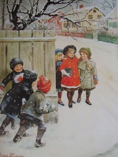 """"""" Watch Out. Snowballs Comin"""" illustration, by Swedish artist, Jenny Nystrom. Images Vintage, Vintage Christmas Images, Victorian Christmas, Vintage Pictures, Vintage Cards, Christmas Scenes, Christmas Art, Christmas Mantles, Christmas Villages"""