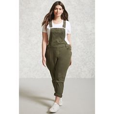 Forever21 Plus Size Denim Overalls ($33) ❤ liked on Polyvore featuring plus size women's fashion, plus size clothing, plus size jumpsuits, olive, denim bib overalls, army green jumpsuit, bib overalls, olive jumpsuit and olive green jumpsuit