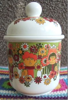 60s 70s Figgjo Mod Faces Cookie Jar Norway